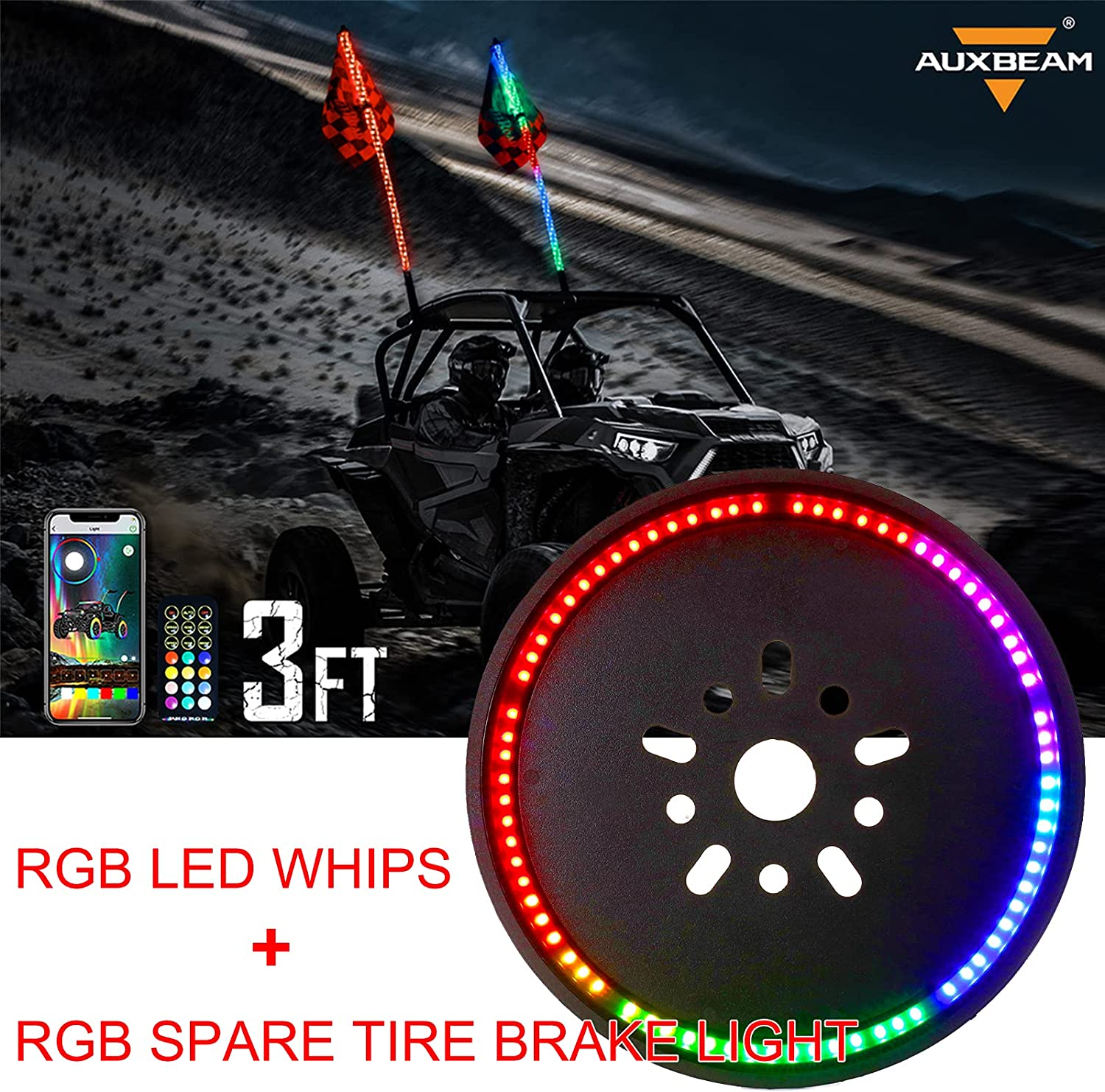 Auxbeam 2Pcs National products 3ft RGB LED Lighted Brake w Signal Turn Whips Outlet sale feature Lig