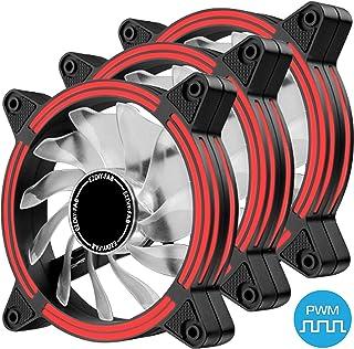 EZDIY-FAB Ventilador de Caja de LED Doble Marco silencioso PWM de 120 mm para Cajas de PC, refrigeradores de CPU y radiadores, Rojo 3Pack