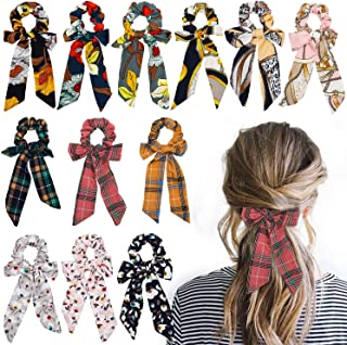 WATINC 12 Pcs Bowknot Hair Scrunchies Chiffon Floral Scrunchie Scarf Hair Ties Cotton Ponytail Holder with Bows 2 in 1 Vintage Checks Pattern Hair Scrunchy Accessories Ropes for Women