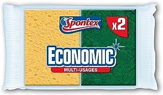 SPONTEX - L'éponge verte - 6 éponges grattantes vertes - Economique - Lot de 3 packs de 2