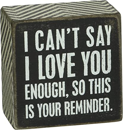 Primitives by Kathy Chevron Trimmed Box Sign 3 x 3-Inches I Love You