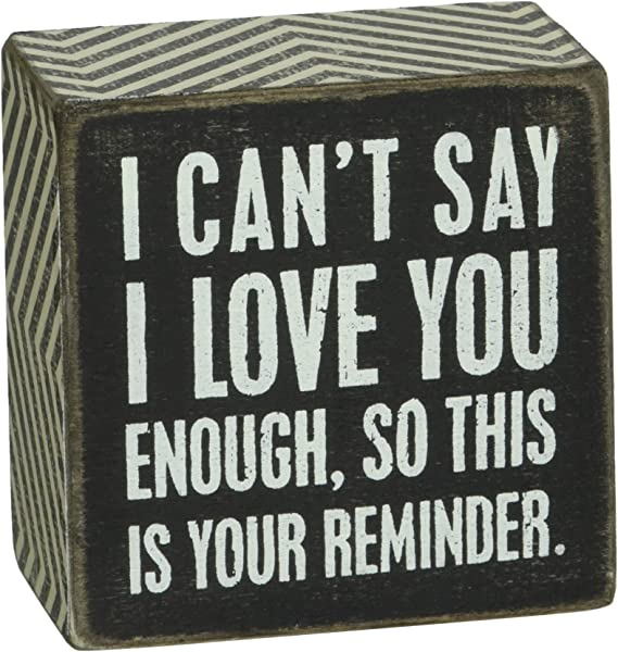 Primitives By Kathy Chevron Trimmed Box Sign 3 X 3 Inches I Love You