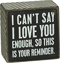 Primitives by Kathy Chevron Trimmed Box Sign, 3 x 3-Inches, I Love You