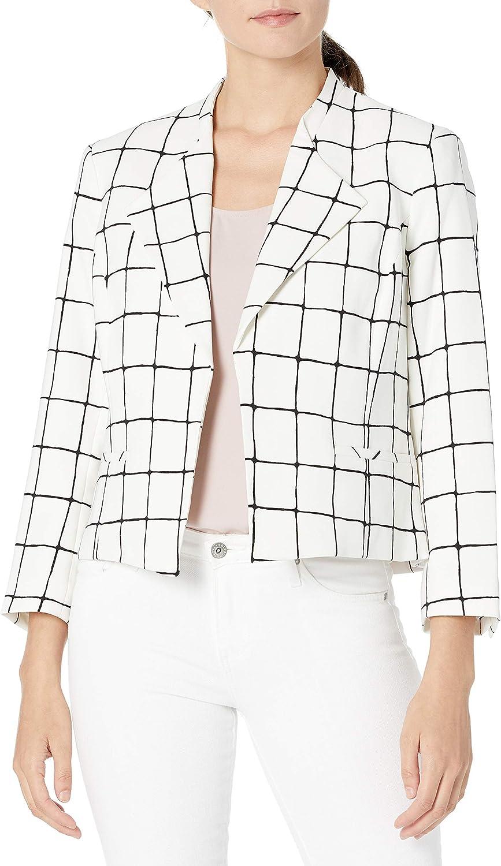 NINE WEST Women's Windowpane Dallas Mall Ranking TOP3 Short Lapel Jacket Wing