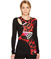 Versace Jeans - Printed Cut Out Long Sleeve T-Shirt