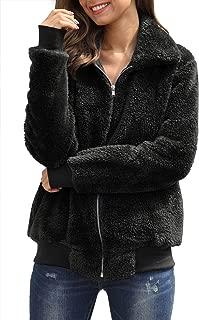Women's Fleece Zipper Front Long Sleeve Teddy Bear Coat with Pocket