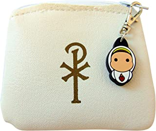JWG Industries White Chi Rho Rosary Pouch with Our Lady of Fatima Tiny Saint