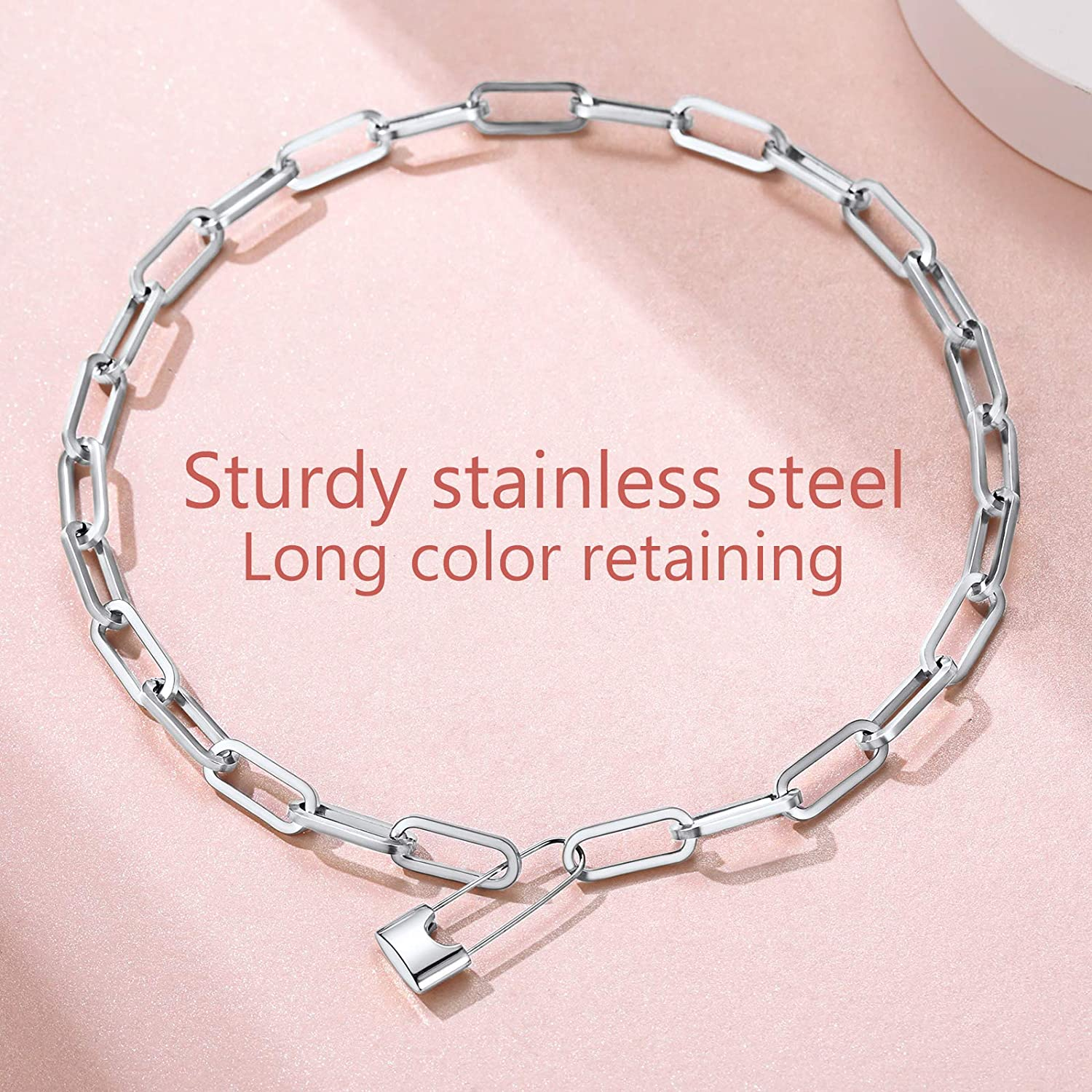 FindChic Handcuff Necklace Padlock Pendant Customized Handcuff Bracelet Partners in Crime Stainless Steel 18K Gold Plated Curb Chain Interlocking 18inch Friendship Statement Necklace for Girls /& Women