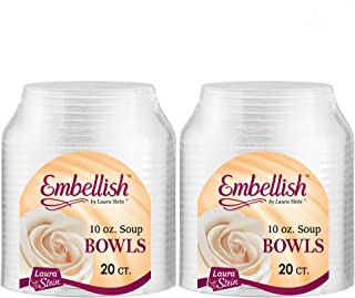 Embellish Clear Disposable Heavy Duty Plastic 10 Oz Soup Bowls 40 Count, Ideal For Wedding, Catering, Parties, Buffets, Events, Or Everyday Use, 2 Packs
