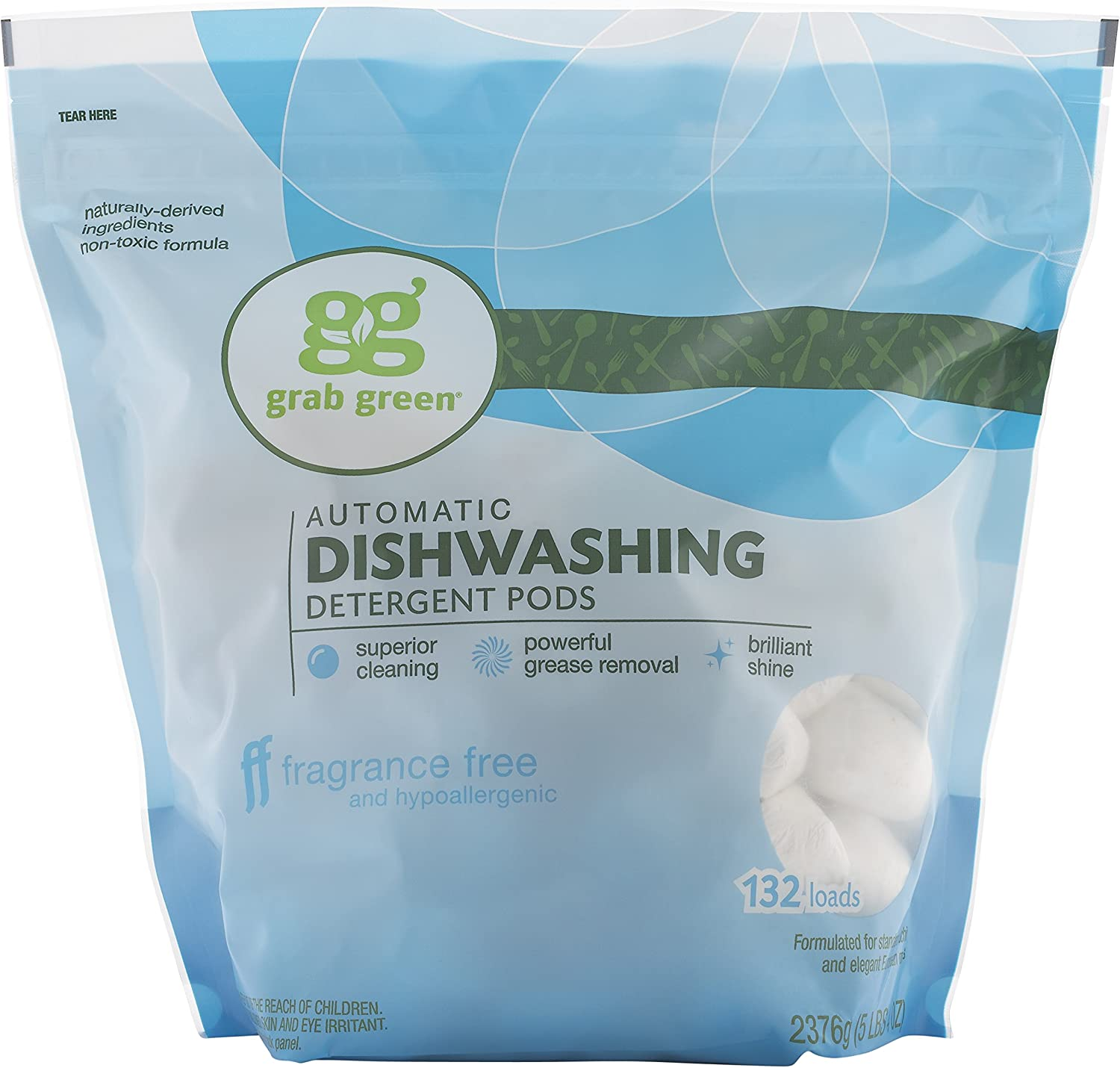 Grab Green Natural Dishwasher Max 70% OFF Detergent Clear Unsce Online limited product Pods Free