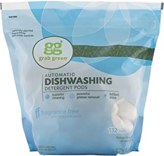 Grab Green Natural Dishwasher Detergent Pods, Free & Clear/Unscented, 132 Count,..