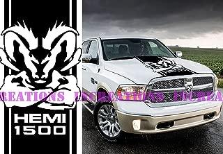 Hemi Dodge Ram 1500 Hood Stripe Truck Decals Mopar Stickers Vinyl Car Graphics (Black)