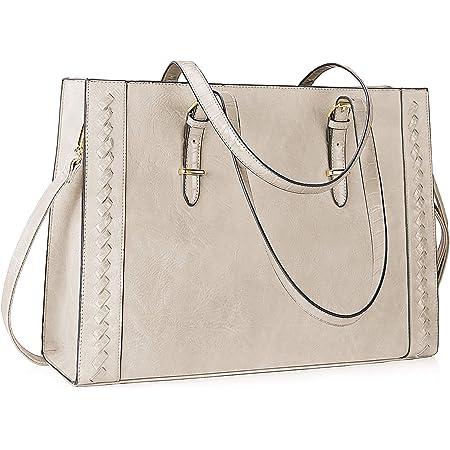Lubardy Shopper Damen Groß Leder Handtasche Damen Beige 15.6 Zoll Laptop Tasche Umhängetasche Damen für die Arbeit Geschäft Schule Reise