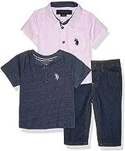 U.S. Polo Assn. Baby Boy's 3 Piece Short Sleeve Woven Shirt, Henley, and Jean Set Pants