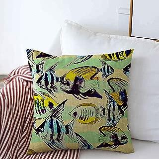 Pillow Case Travel Angelfish Watercolor Exotic Fish Angel Deep Nature Aquarium Aquatic Baby Beach Clown Design Farmhouse Decorative Throw Pillows Covers 20