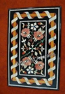 Gifts And Artefacts Pietra Dura Table de salle à manger en marbre Noir 61 x 36 cm