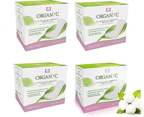 Organyc Protège-slips Pliées –100% coton bio, lot de 4 boîtes (24 unités X 4)