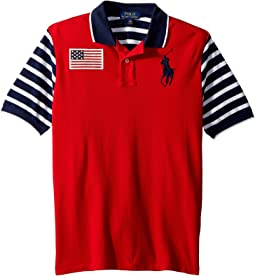 Striped Cotton Mesh Polo Shirt (Big Kids)