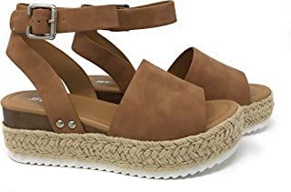3fb3502cfe51f6 Womens Casual Espadrilles Trim Rubber Sole Flatform Studded Wedge Buckle  Ankle Strap Open Toe Sandals