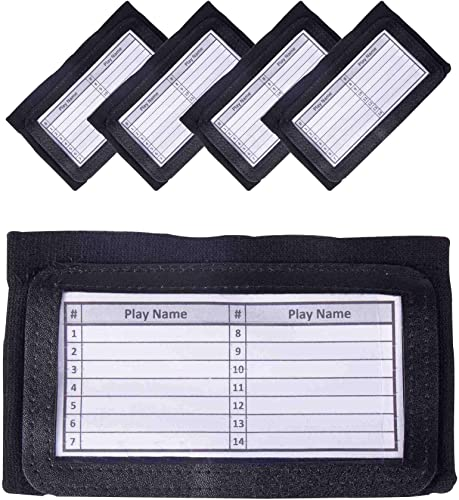 discount GSM Brands Quarterback (QB) Play Wristband - Youth Size - lowest Pro Football 2021 Armband Playbook - 5 Pack (Black) online sale