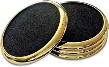 COMFORTENA Regal Drink Coasters with Absorbent Felt Inserts | Unique Table Coaster Set with Silicone Tray and Metal Ring Accent | Perfect for Hot and Cool Beverages in Glasses, Cups, and Mugs | Gold