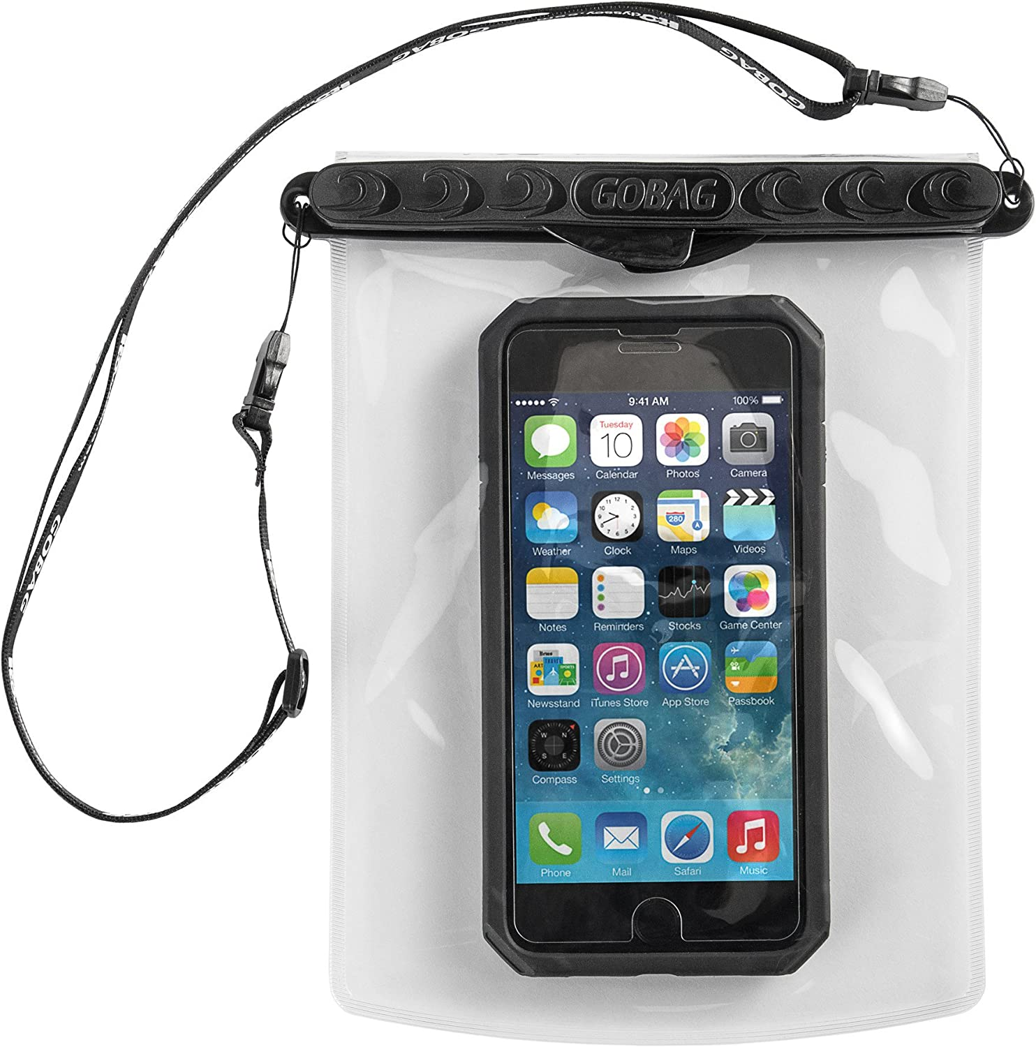 Go Bag Mako Dry Bag #1 Secure Air Tight Self-Sealing Magnetic Waterproof Case to 100 ft. Hermetic Seal Cell Phone Touchscreen Sensitive 7.5
