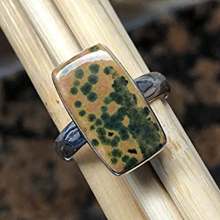 Genuine Green Spotted Orbicular Ocean Jasper Cabochon 925 Sterling Silver Ring Size 7