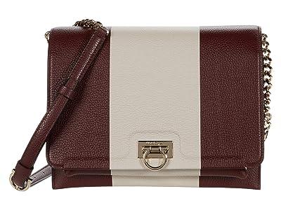 Salvatore Ferragamo Trifolio Stripes Print Flap (Nebbiolo/Stampa Righe Nebbiolo/Bone) Handbags