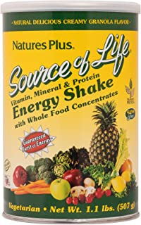 NaturesPlus Source of Life Energy Shake - 1.1 lbs Multivitamin, Mineral & Protein Powder - Granola Flavor - Whole Food Meal Replacement - Non-GMO, Vegetarian, Gluten-Free - 13 Servings