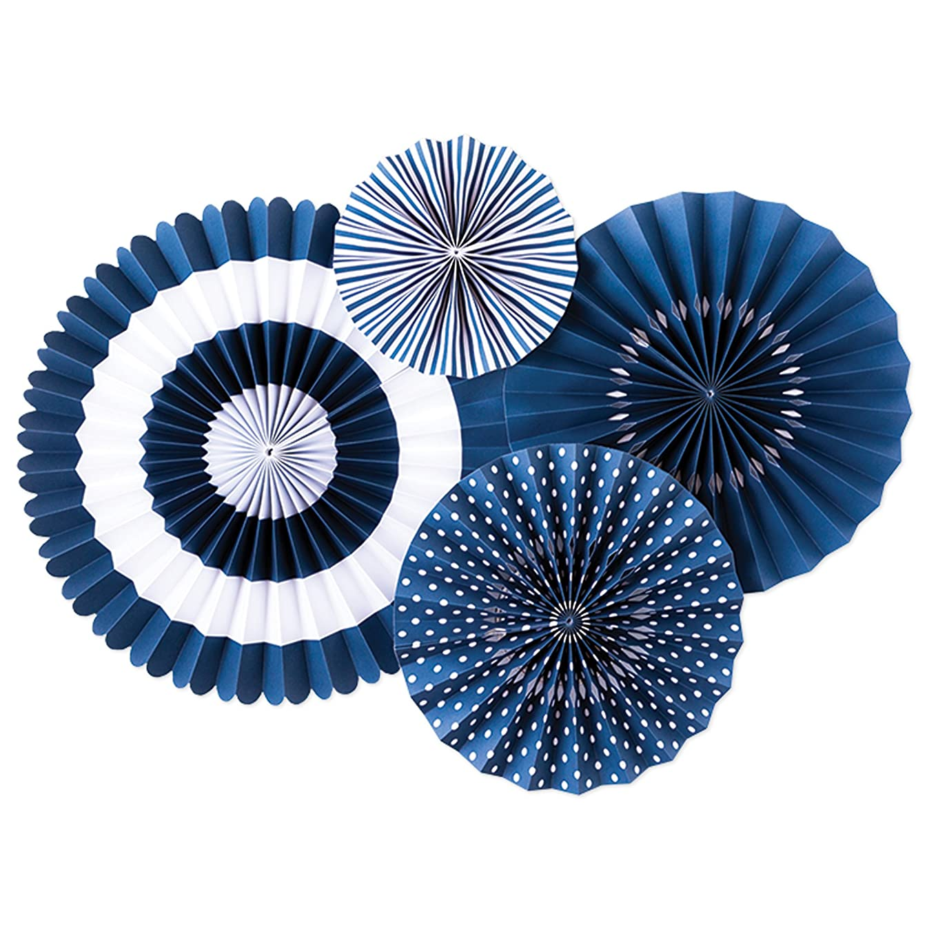 My Mind's Eye - Fancy Blueberry Navy Paper Party Fans - 4 Count - Decorations