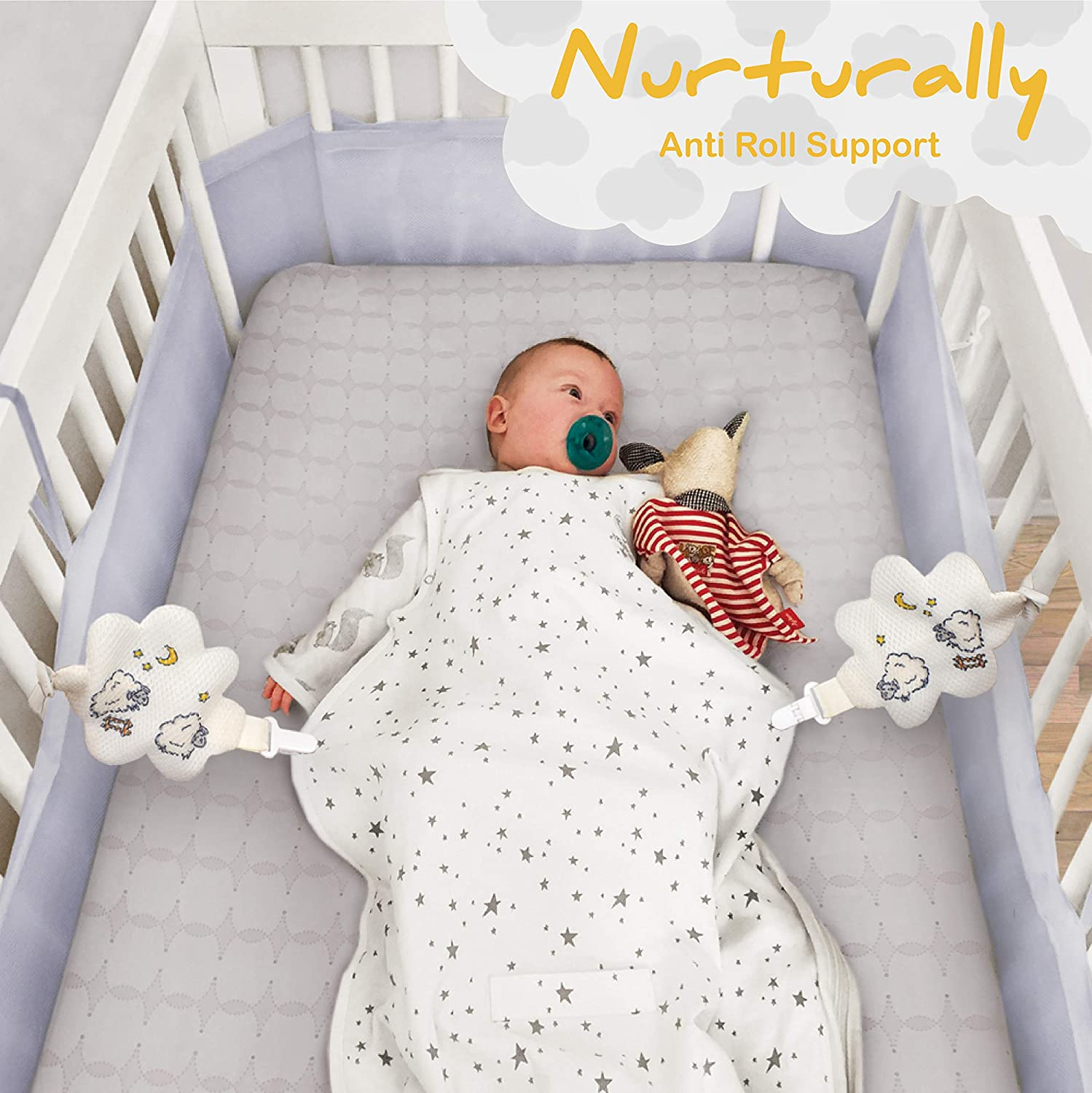 Nurturally Baby Anti Roll Support - Safe Breathable Fabric for Babies Age 3 to 6 Months Old, Designed in USA (Sleep Sack not Included)