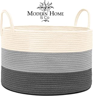 """Modern Home & Co Cotton Rope Basket for Baby Laundry, Clothes, Toys Storage   Handmade Woven Bag with Long Handles ● Extra Large 20"""" x 13.3"""""""