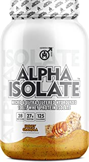 Alpha ISO - Whey Protein Isolate Powder | Best Tasting 100% Grass Fed Whey | Low Carb Protein Powder for Lean Muscle Building & Weight Loss, Post Workout Supplement for Men, Honey Granola, 28 Sv