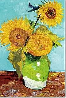 El rey de la cultura pop Vincent Van Gogh - Tres girasoles en un jarrón (1888) - Póster de pintura clásica, impresión, arte, impresión de póster de regalo - Posimpresionista holandés Willem - Tamaño: 30 x 20 cm