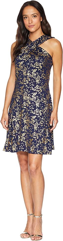 Scatter Blossoms Cross Neck Dress