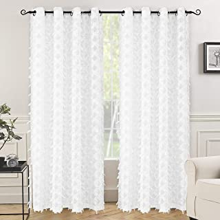 DriftAway White Voile Grommet Semi Sheer Curtains Woven Water Drop Geometric Pattern Embroidered Silver Thread with Featherlike Soft Pom Pom Tassel Linen Texture 2 Panels 52 Inch by 84 Inch Off White