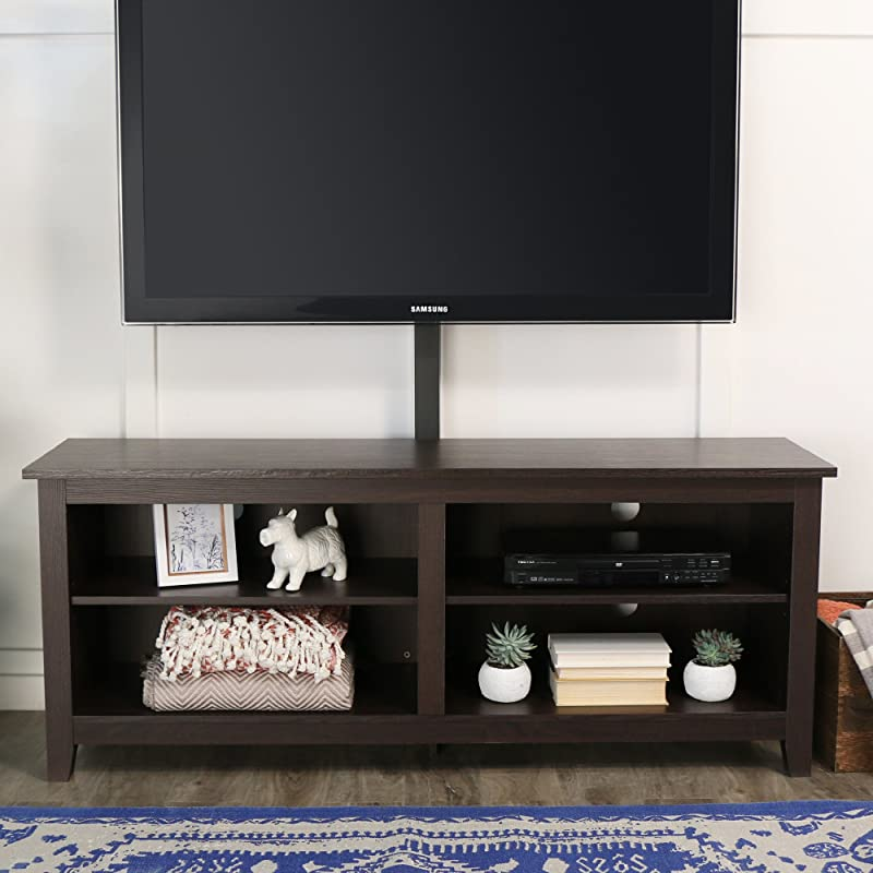 WE Furniture 58 Wood TV Stand Console With Mount Espresso