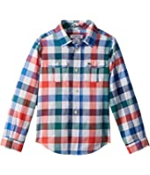 Lacoste Kids Long Sleeve Poplin Blue and Red Check Shirt (Little Kids/Big Kids)