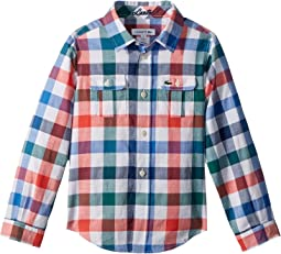 Lacoste Kids - Long Sleeve Poplin Blue and Red Check Shirt (Little Kids/Big Kids)