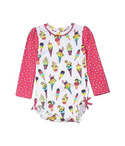 Hatley Kids Cool Treats Rashguard Swimsuit (Infant) (White) Girl