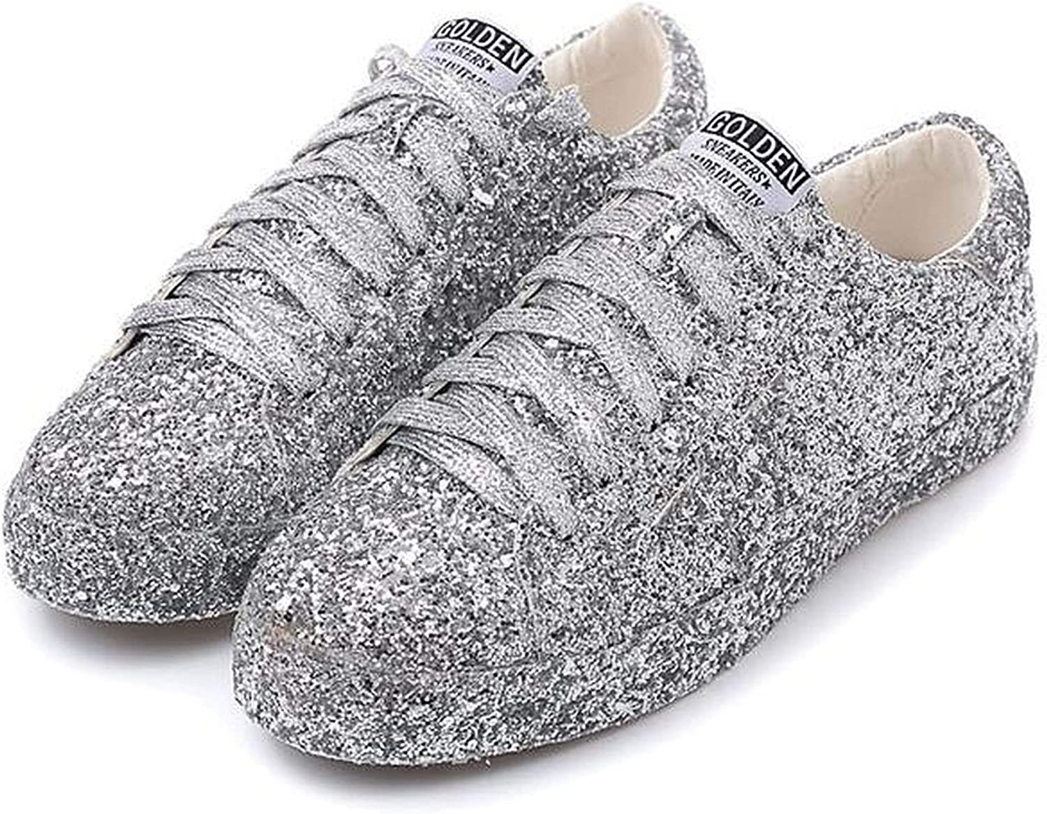 colorful Dream- 2019 Fashion Streets Silver Glitter Sequins lace Round Toe Bling Casual shoes Creepers shoes