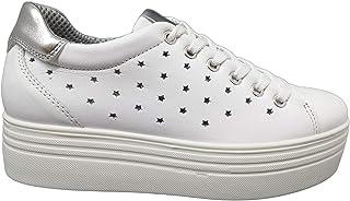 Imac 707110 Sneakers Estivi Scarpe Donna Vera Pelle Bianco Zeppa Cm 6