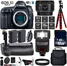 Canon EOS 5D Mark IV DSLR Camera With 50mm f/1.8 STM Lens + Professional Battery Grip + UV Protection Filter + Flash + Extra Battery + Case + Wrist Strap + Tripod + Card Reader - International Version