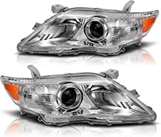 AUTOSAVER88 Headlight Assembly Compatible with 2010-2011 Toyota Camry Hybrid Chrome Housing Amber Reflector Projector Head...
