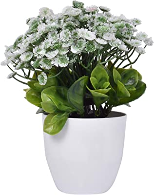 Plantex Plastic Artificial Flowers with Plastic Pot for House Decorations, Office, Home - (White & Green)