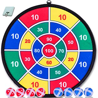 YESMARKS Kids Game Dart Board Set 8 Sticky Balls and 13.8 Inches (35cm) Dartboard –..