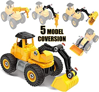 HAPISIMI STEM Construction Vehicle Toys for Boys, 62 PCs - 5 Models Construction Vehicle Bulldozer, Exvacator, Breaker, Crane and Clamp, Take Apart Toys with Tools