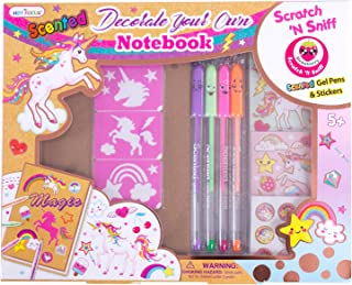 Hot Focus DIY Unicorn Notebook Kit - Decorate Your Own Journal Diary with 4 Scented Gel Pens, Scratch 'N Sniff Unicorn Stickers and Stencils