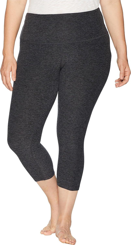 Beyond Yoga Women's Plus Size HighWaist Capris Black Charcoal 2X 18.5