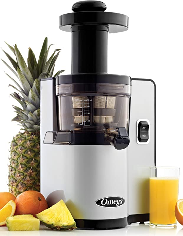 Omega VSJ843QS Vertical Slow Masticating Juicer Makes Continuous Fresh Fruit And Vegetable Juice At 43 Revolutions Per Minute Features Compact Design Automatic Pulp Ejection 150 Watt Silver